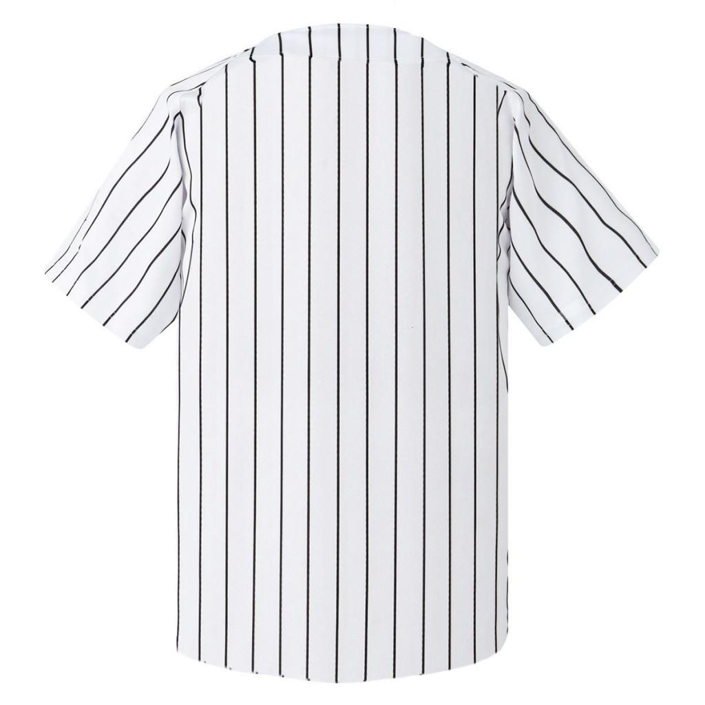 激安クラスティーシャツ野球ユニフォーム(ホワイト×ブラックストライプ)ベースボールシャツ画像2