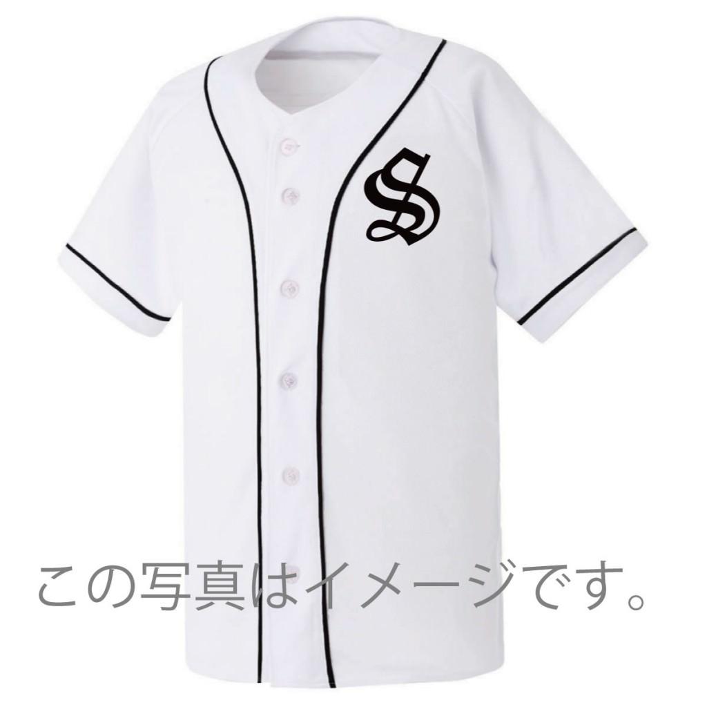 激安クラスティーシャツ野球ユニフォーム(ホワイト×ブラックライン)ベースボールシャツ画像3