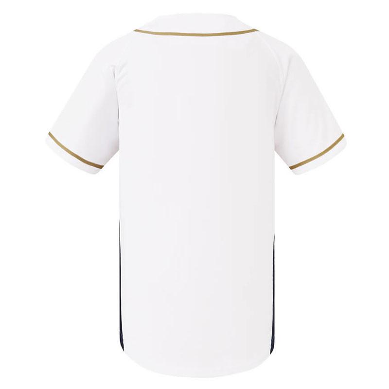 激安クラスティーシャツ野球ユニフォーム(ホワイト×ゴールド)ベースボールシャツ(XLサイズ以上在庫有り)画像2