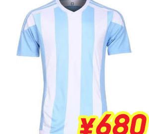 (L~3XL)オリジナルストライプサッカーユニフォーム ホワイト×サックス