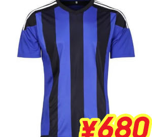 (L~3XL)オリジナルストライプサッカーユニフォーム ブルー×ブラック