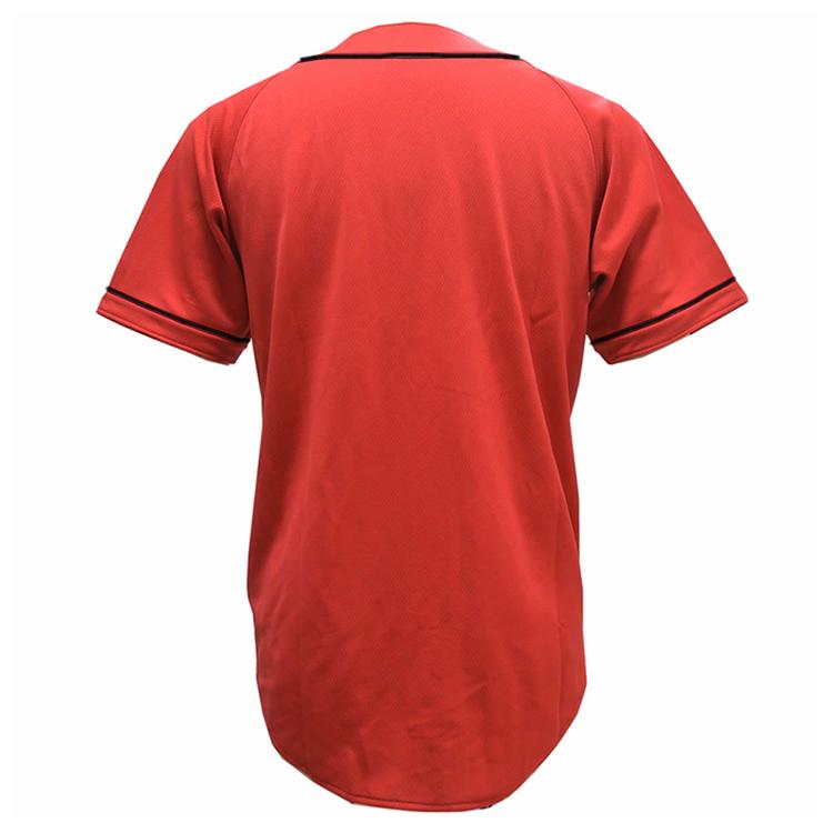 激安クラスティーシャツ野球ユニフォーム(レッド×ブラック)ベースボールシャツ画像2
