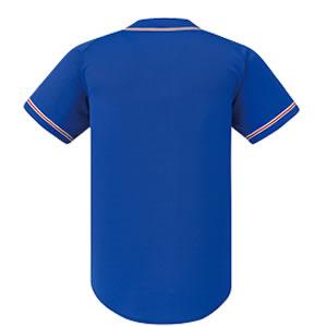 激安クラスティーシャツ野球ユニフォーム(ブルー×レッドホワイトライン)ベースボールシャツ画像2