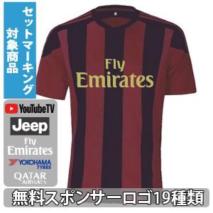 激安クラスティーシャツ(S~2XL)オリジナルストライプサッカーユニフォーム ネイビー×エンジ画像1