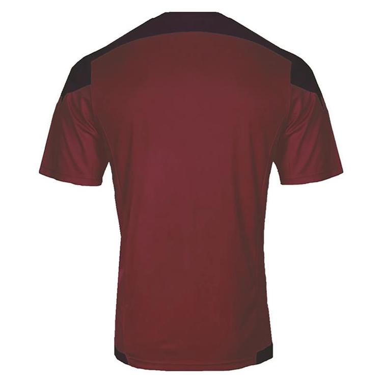 激安クラスティーシャツ(S~2XL)オリジナルストライプサッカーユニフォーム ネイビー×エンジ画像2