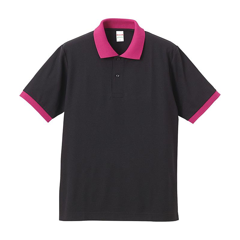 激安クラスティーシャツドライカノコ ポロシャツ ブラック×トロピカル画像1