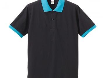 ドライカノコ ポロシャツ ブラック×ターコイズ