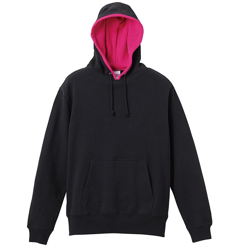 激安クラスティーシャツスウェットプルオーバーパーカー ブラック×ピンク画像1