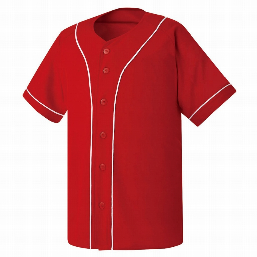 激安クラスティーシャツ野球ユニフォーム(レッド×ホワイト)ベースボールシャツ画像1