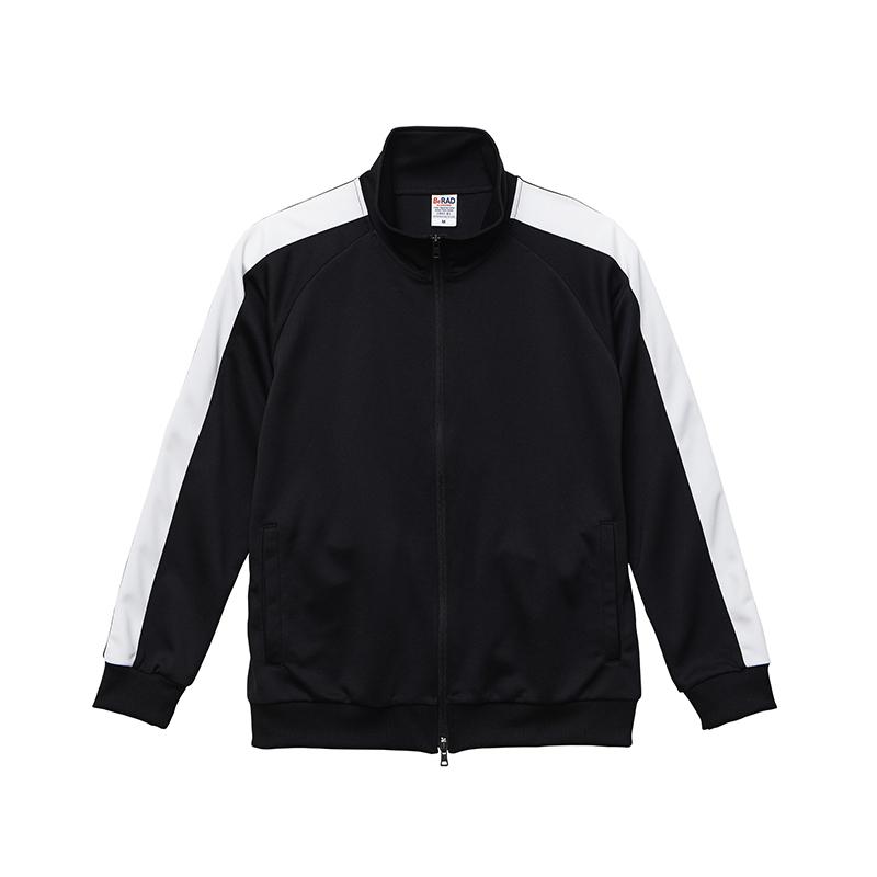 激安クラスティーシャツスタンドカラージャージートラックジャケット  ブラック×ホワイト画像1