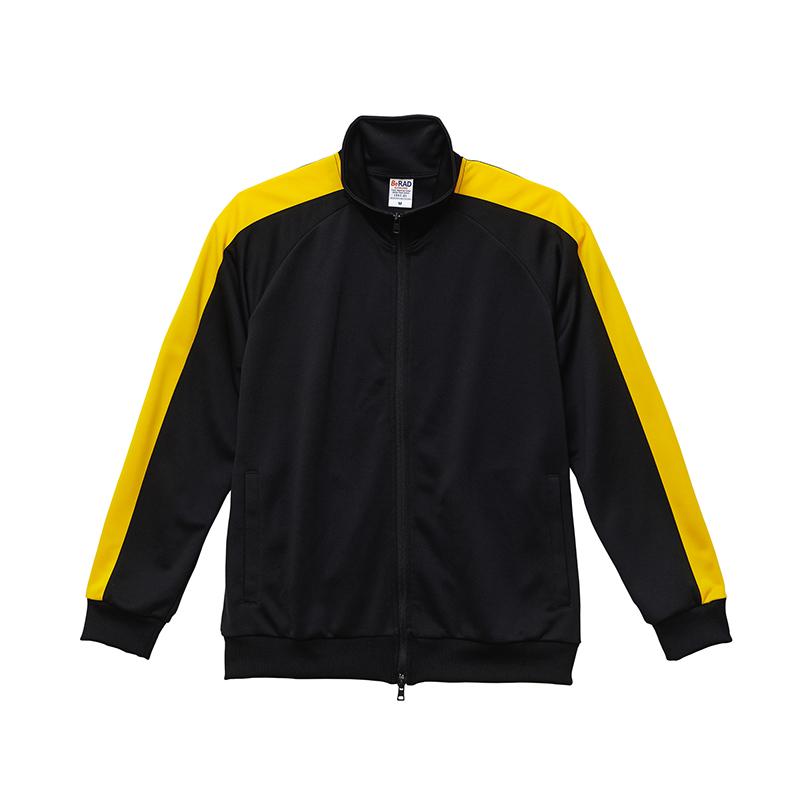 激安クラスティーシャツスタンドカラージャージートラックジャケット  ブラック×イエロー画像1