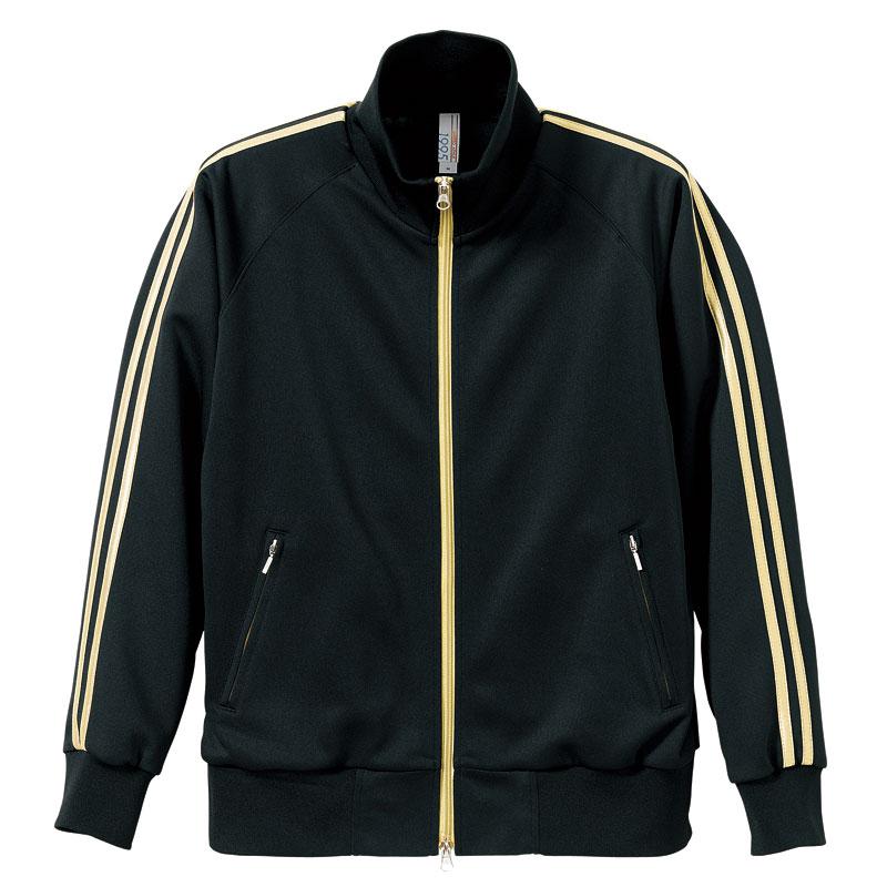 激安クラスティーシャツジャージー ラグランスリーブ ジャケット ブラック/ゴールド画像1
