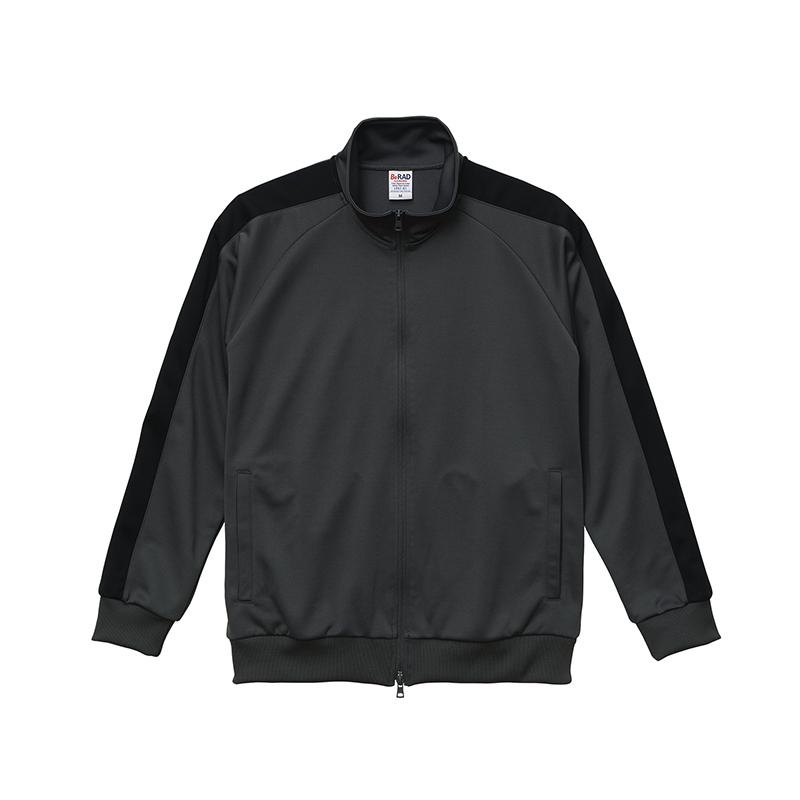 激安クラスティーシャツスタンドカラージャージートラックジャケット  ダークグレー×ブラック画像1