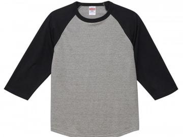 3/4スリーブ Tシャツ ミックスグレー×ブラック