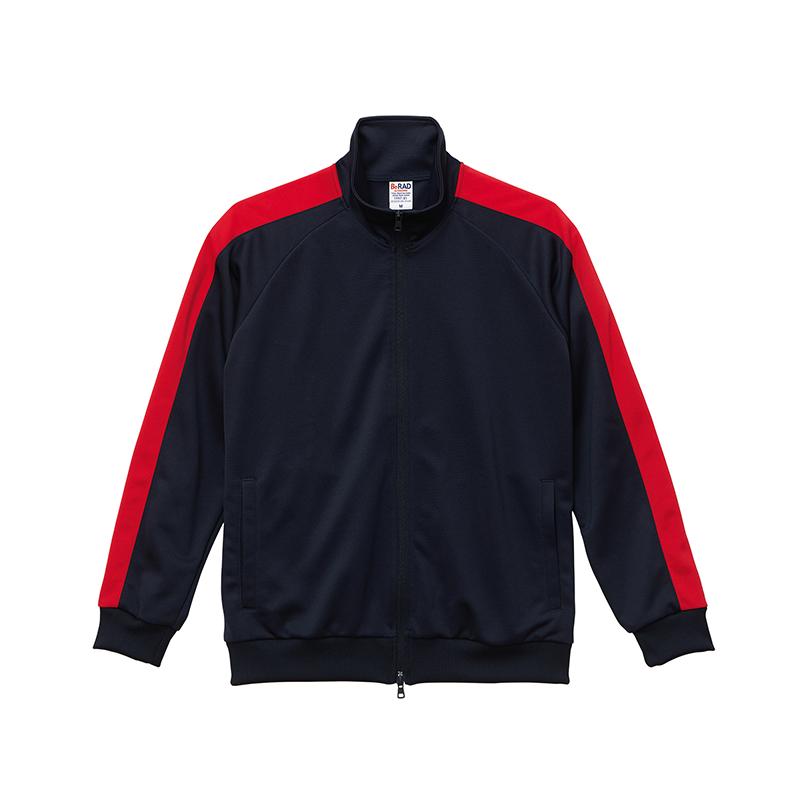 激安クラスティーシャツスタンドカラージャージートラックジャケット  ネイビー×レッド画像1