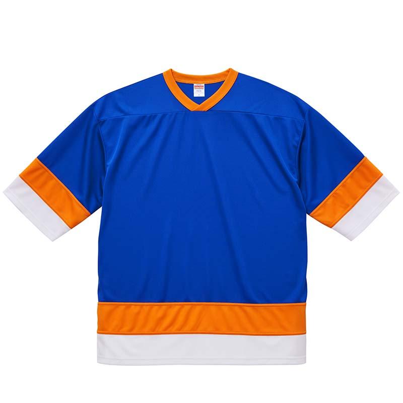 激安クラスティーシャツ4.1オンス ドライ ホッケー Tシャツ  ブルー/オレンジ/ホワイト画像1