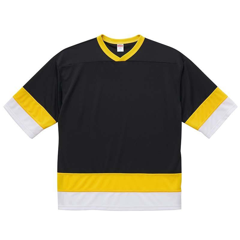 激安クラスティーシャツ4.1オンス ドライ ホッケー Tシャツ  ブラック/イエロー/ホワイト画像1
