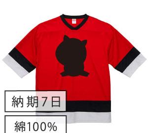 黒板ホッケーTシャツ レッド×ホワイト